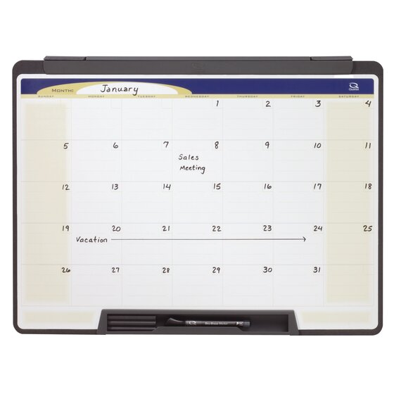"Quartet Motion® Cubicle Calendar Whiteboard, 24"" x 18"", One Month Design"