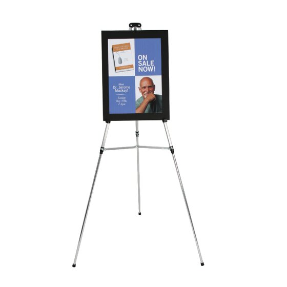 """Aluminum Lightweight Telescoping Display Easel, 66"""", Supports 25 lbs., Silver"""