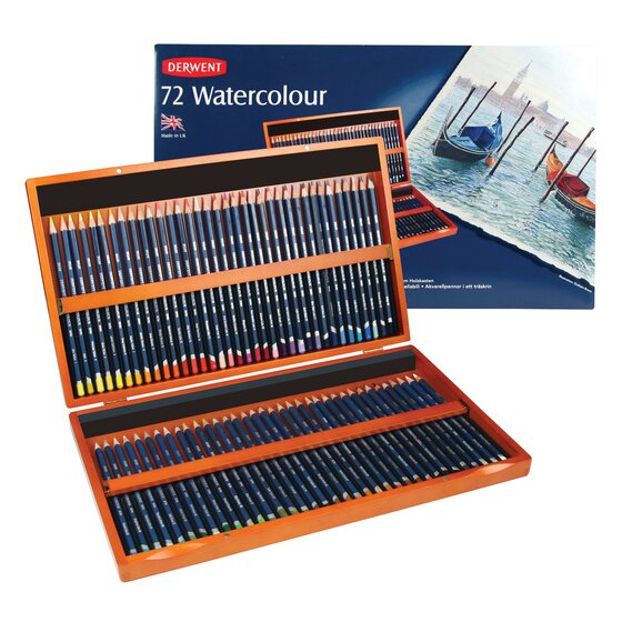 Derwent Watercolor Pencils, 3.4mm Core, Wooden Box, 72 Count