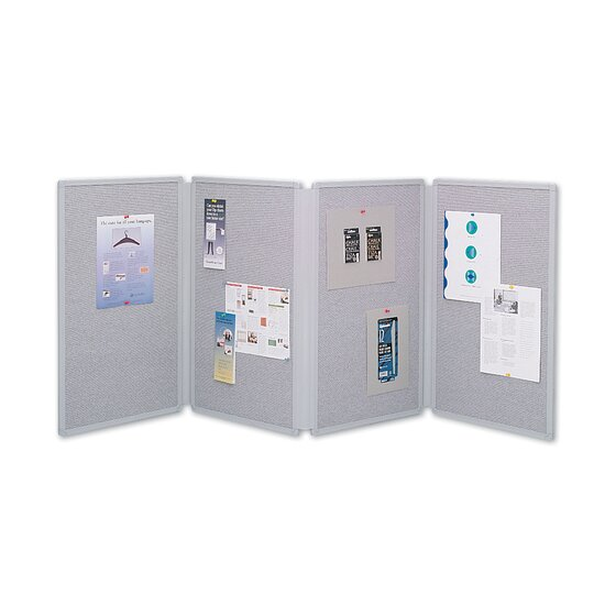 Quartet® Tabletop Display Board, 6' x 2 1/2', 4 Panels, Double-sided, Gray