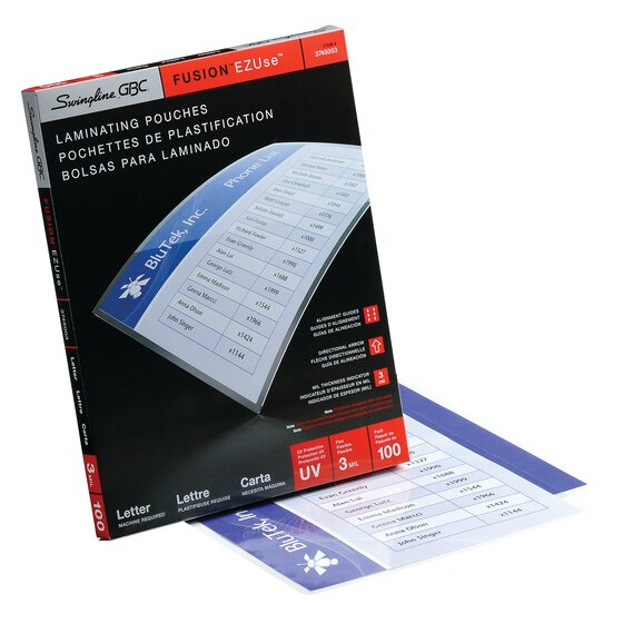 EZUse Thermal Laminating Pouches Letter Size 3 Mil 100 pcs