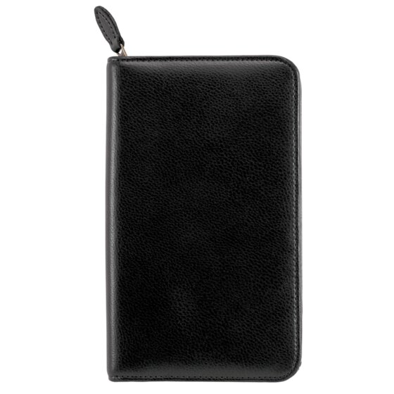 "Day-Timer Armorhide Leather Zippered Planner Cover, Black, Pocket Size, 3 1/2"" x 6 1/2"""