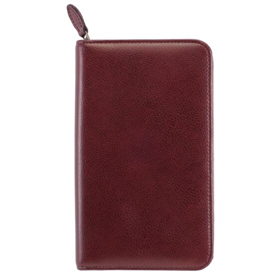"Day-Timer Armorhide Leather Zippered Planner Cover, Burgundy, Pocket Size, 3 1/2"" x 6 1/2"""