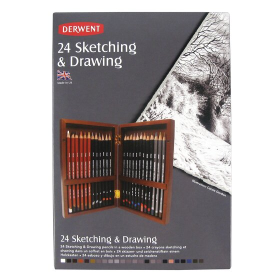 Sketching & Drawing 24 Wooden Box
