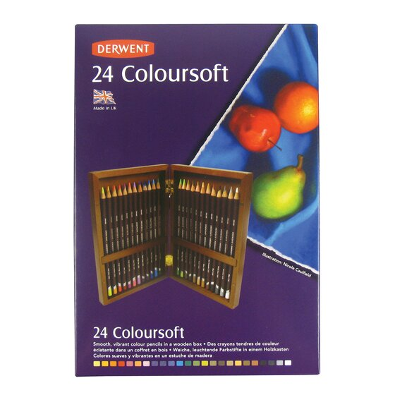 Derwent Colorsoft Pencils, 4mm Core, Wooden Box, 24 Count