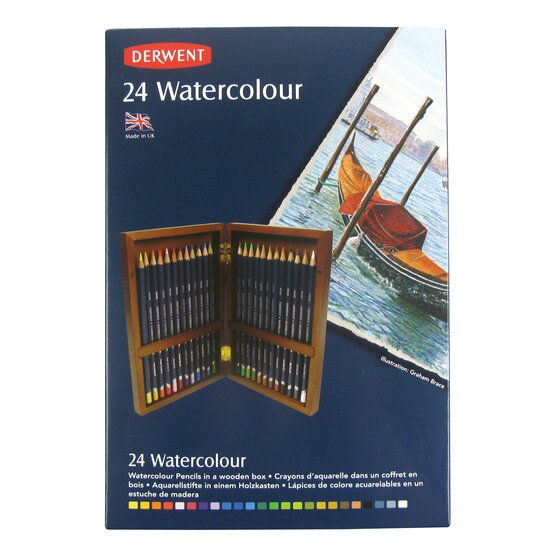 Derwent Watercolor Pencils, 3.4mm Core, Wooden Box, 24 Count