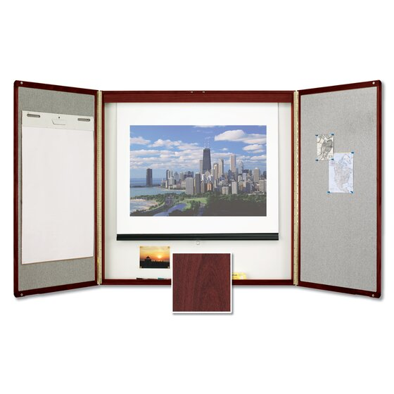 Premium Conference Room Cabinet, 4' x 4', Whiteboard Interior with Projection Screen, Mahogany Finish