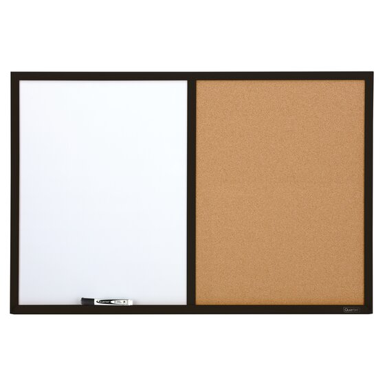 Quartet® Combination Board, 2' x 3', Dry-Erase & Cork, Black Finish Frame
