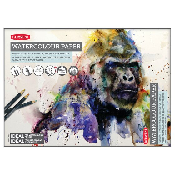 Derwent Watercolor Paper Pad, A2, 23.39 x 16.54 Inch Sheet Size, 12 Sheets