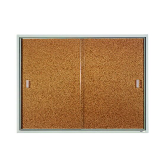 Quartet® Classic Style Enclosed Cork Bulletin Boards for Indoor Use, Sliding Door, Aluminum Frame