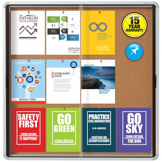 Quartet® Contemporary Enclosed Cork Bulletin Boards for Indoor Use, Sliding Door, Euro™ Frame