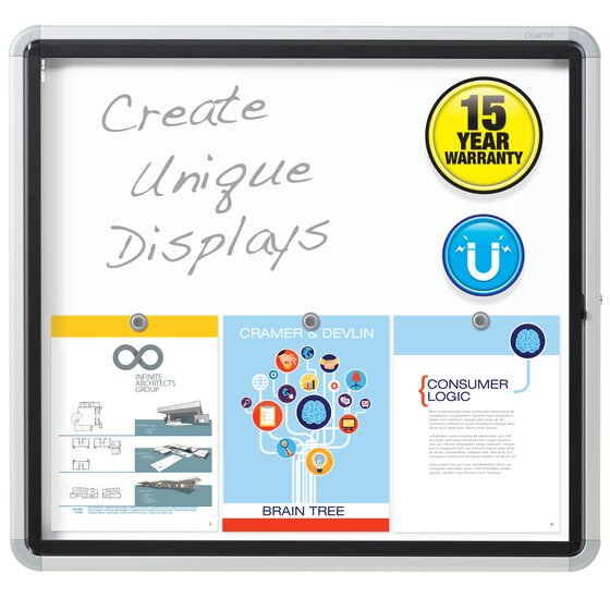 "Quartet® Enclosed Magnetic Whiteboard for Outdoor Use, 30"" x 27"" or 6 Sheets, 1 Swing Door, Aluminum Frame"