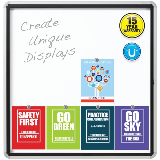 "Quartet® Enclosed Magnetic Whiteboard for Outdoor Use, 38"" x 39"" or 12 Sheets, 1 Swing Door, Aluminum Frame"