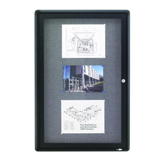Quartet® Enclosed Fabric Bulletin Boards for Indoor Use, Swing Door, Graphite Frame