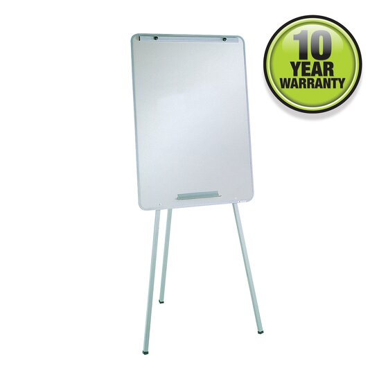 """Oval Office Whiteboard Easel, 29"""" x 40"""", Holds Flipcharts, Gray Frame"""