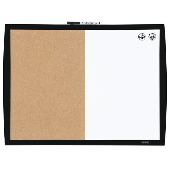 """Magnetic Combination Board with Curved Frame, Cork/Dry-Erase, 17"""" x 23"""", Black"""