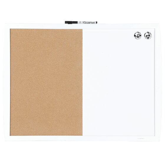 """Magnetic Combination Board with Curved Frame, Cork/Dry-Erase, 17"""" x 23"""", White"""