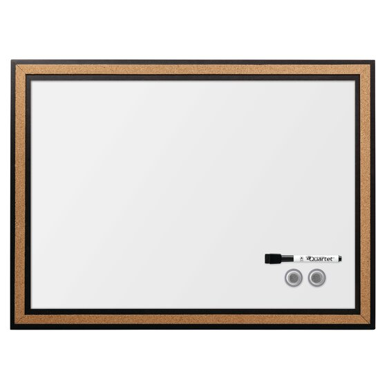 Magnetic Combination Board with Cork Border, 3' x 2', Black Frame