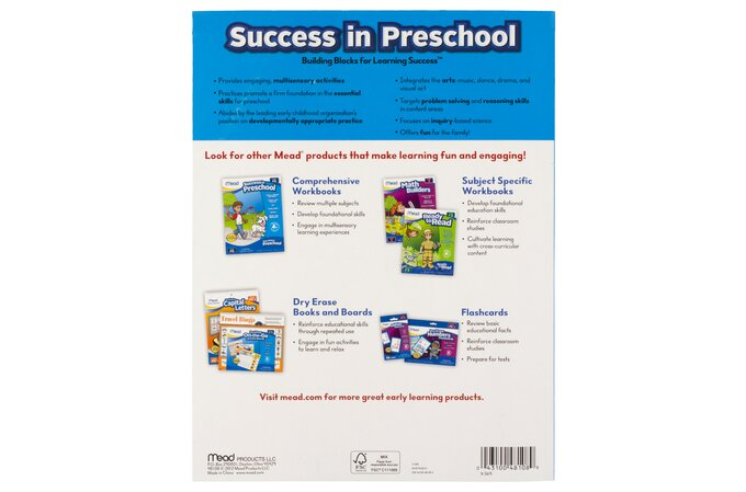 """Mead Success in Preschool Workbook, 320 Pages, 10 7/8"""" x 8 3/8"""" 
