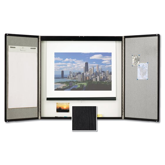 Premium Conference Room Cabinet, 4' x 4', Whiteboard Interior with Projection Screen, Black Finish