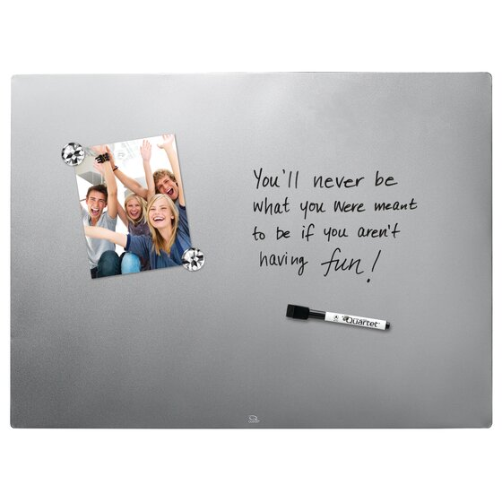 """Magnetic Dry-Erase Board, 17"""" x 23"""", Frameless, Stainless Steel Silver Finish"""