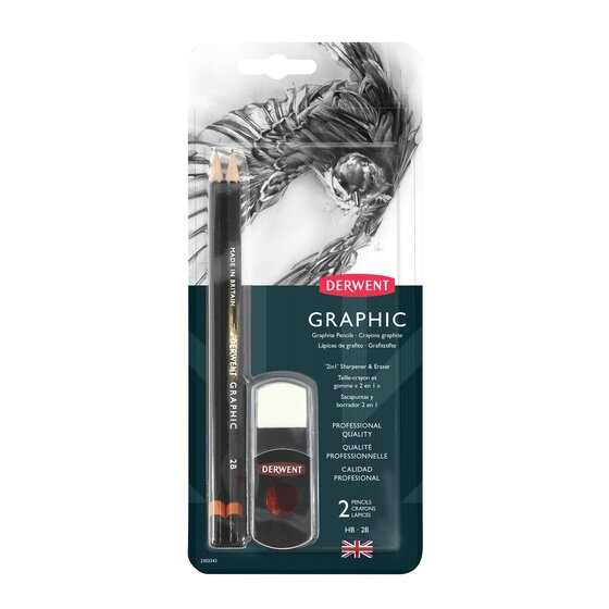 Derwent Graphic Pencil, 2 in 1 Blister Set
