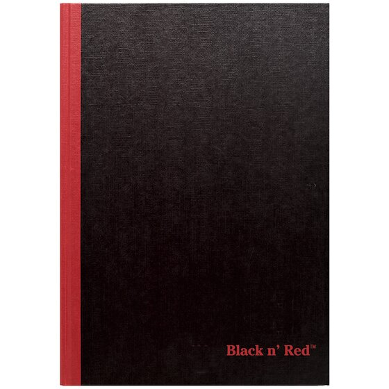 """Black n' Red Casebound Business Notebook, Hardcover, Ruled, 96 Sheets, 11 3/4"""" x 8 1/4"""", Black"""