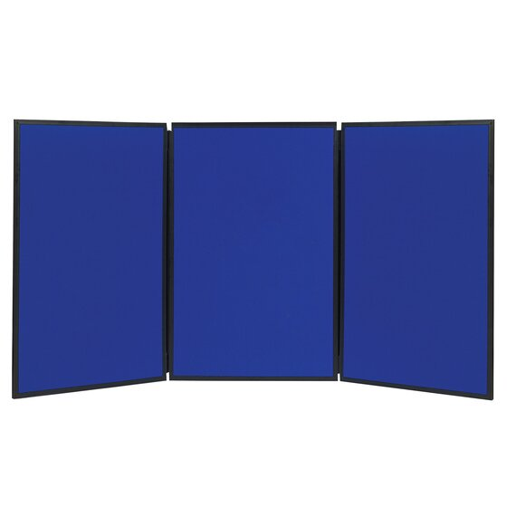 Quartet® Show-It!® 3-Panel Display System, 6' x 3', Double-sided, Blue/Gray