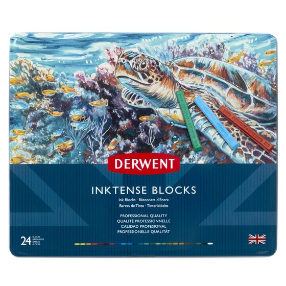 Derwent Inktense Blocks, 4mm Core, Metal Tin, 24 Count
