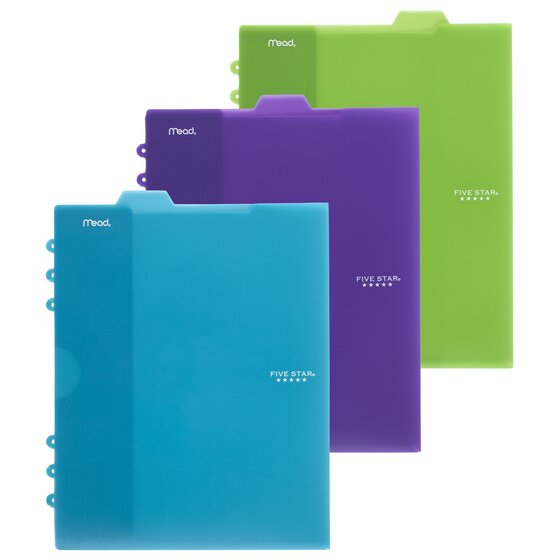 Five Star Tabbed Pocket Dividers, 3 Pack, Assorted Colors