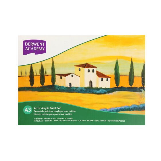 Derwent Academy Acrylic Pad A3 Landscape 12 Sheets