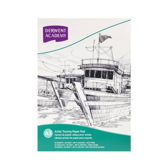Derwent Academy Tracing Paper Pad A3 Portrait 25 Sheets