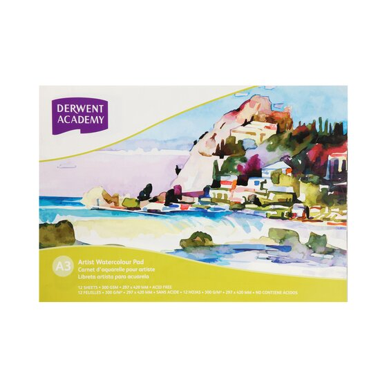 Derwent Academy Watercolour Pad A3 Landscape 12 Sheets