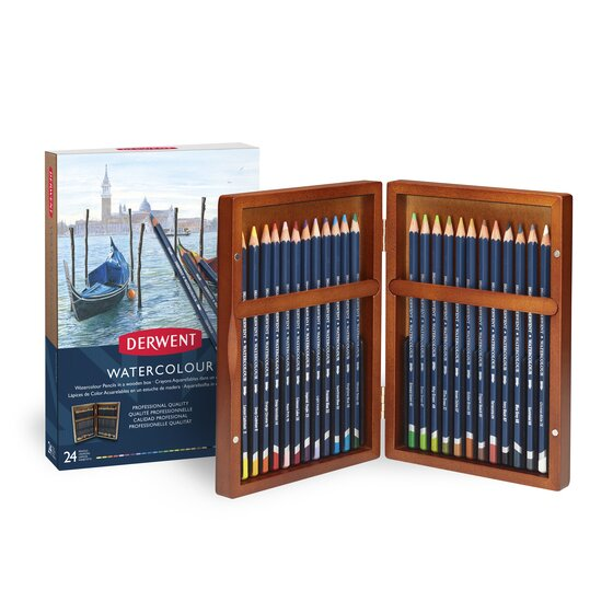 Watercolour Pencils 24 Wooden Box