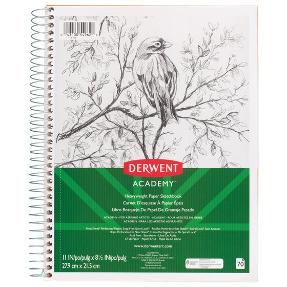 "Derwent Academy Heavyweight Paper Sketchbook, Wirebound, 70 Sheets, 11"" x 8 1/2"""