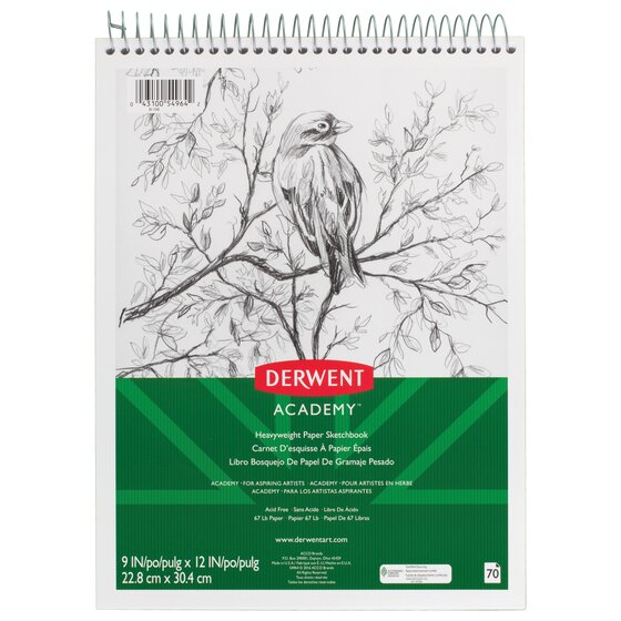 "Derwent Academy Heavyweight Paper Sketchbook, Topbound, 70 Sheets, 9"" x 12"""