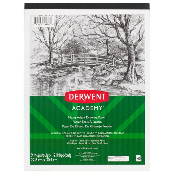 "Derwent Academy Heavyweight Drawing Paper Pad, 40 Sheets, 9"" x 12"""
