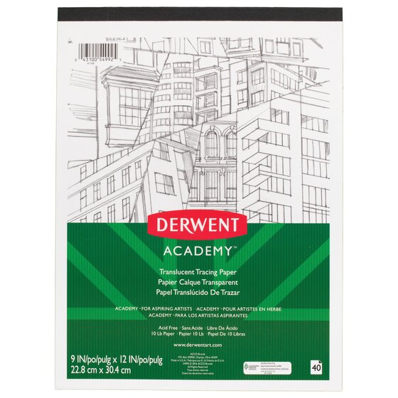 """Derwent Academy Translucent Tracing Paper Pad, 40 Sheets, 9"""" x 12"""""""