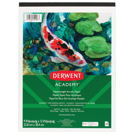 "Derwent Academy Heavyweight Acrylic Paper Pad, 24 Sheets, 9"" x 12"""