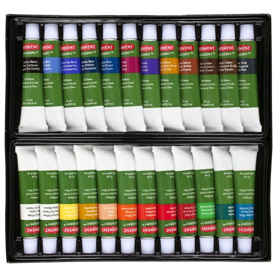 Derwent Academy Oil Colour Paints, 24 Pack
