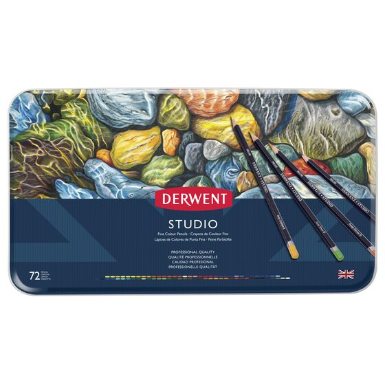 Derwent Studio Colored Pencils, 3.4mm Core, Metal Tin, 72 Count