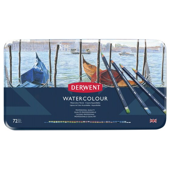 Derwent Watercolor Pencils, 3.4mm Core, Metal Tin, 72 Count
