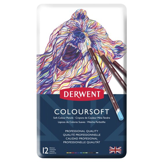 Derwent Colorsoft Pencils, 4mm Core, Metal Tin, 12 Count