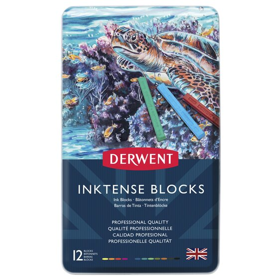 Derwent Inktense Blocks, 4mm Core, Metal Tin, 12 Count