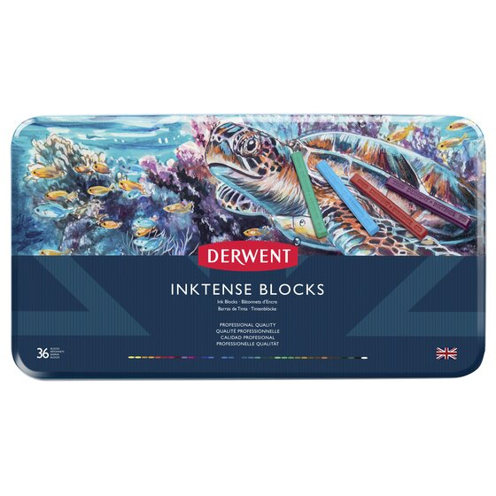 Derwent Inktense Blocks, 4mm Core, Metal Tin, 36 Count