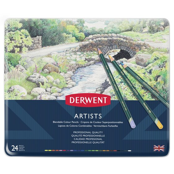 Derwent Artists Colored Pencils, 4mm Core, Metal Tin, 24 Count