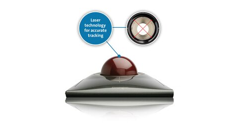 large red trackball rotating 55mm