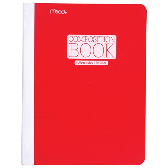 """Mead Plastic Composition Book, College Ruled, 70 Sheets, 9 3/4"""" x 7 1/2"""", Red"""