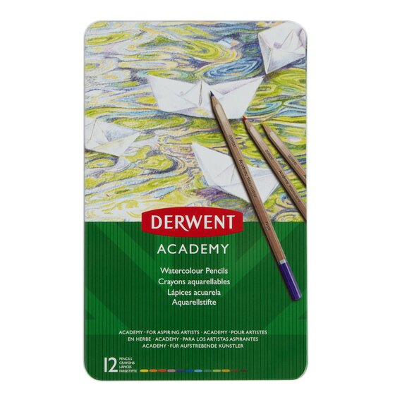 Derwent Academy Watercolor Pencils, 3.3mm Core, Metal Tin, 12 Count