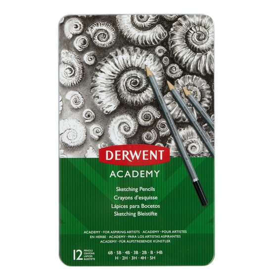 Derwent Academy Sketching Pencils, 12 Degrees of Hardness Metal Tin, 12 Count